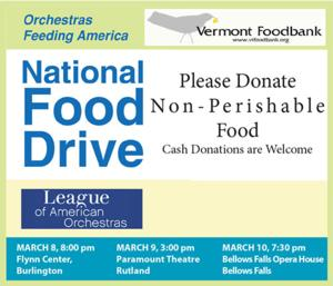 The Vermont Symphony Orchestra Holds Food Drive to Feed Those in Need in Vermont