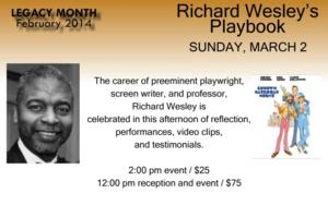 RICHARD WESLEY'S PLAYBOOK Set for Crossroads Theatre Company, 3/2