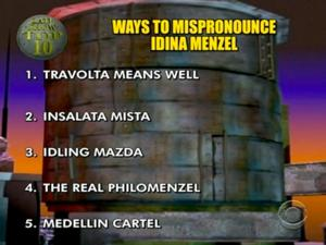 LETTERMAN Presents 'Top 10 Ways to Mispronounce Idina Menzel'