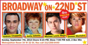 Broadway On 22nd Street Celebrates Season 4 with Anita Gillette, Doreen Montalvo & More, 9/7