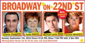 Broadway On 22nd Street Celebrates Season 4 with Anita Gillette, Doreen Montalvo & More, 9/7