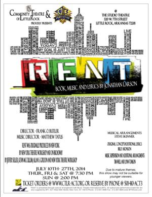 Tickets Are On Sale Now for Community Theatre of Little Rock's RENT, 7/10-27