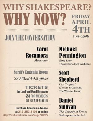 Michael Pennington, Scott Shepherd, Daniel Sullivan to Talk Shakespeare at Drama Desk's 2014 Sardi's Luncheon, Today