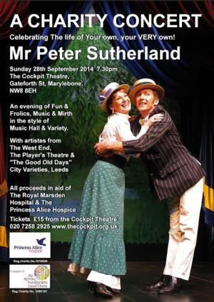Charity Concert to Celebrate Peter Sutherland Sept 28 at The Cockpit Theatre