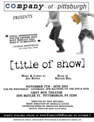 The Company of Pittsburgh to Present [TITLE OF SHOW], 11/7-16