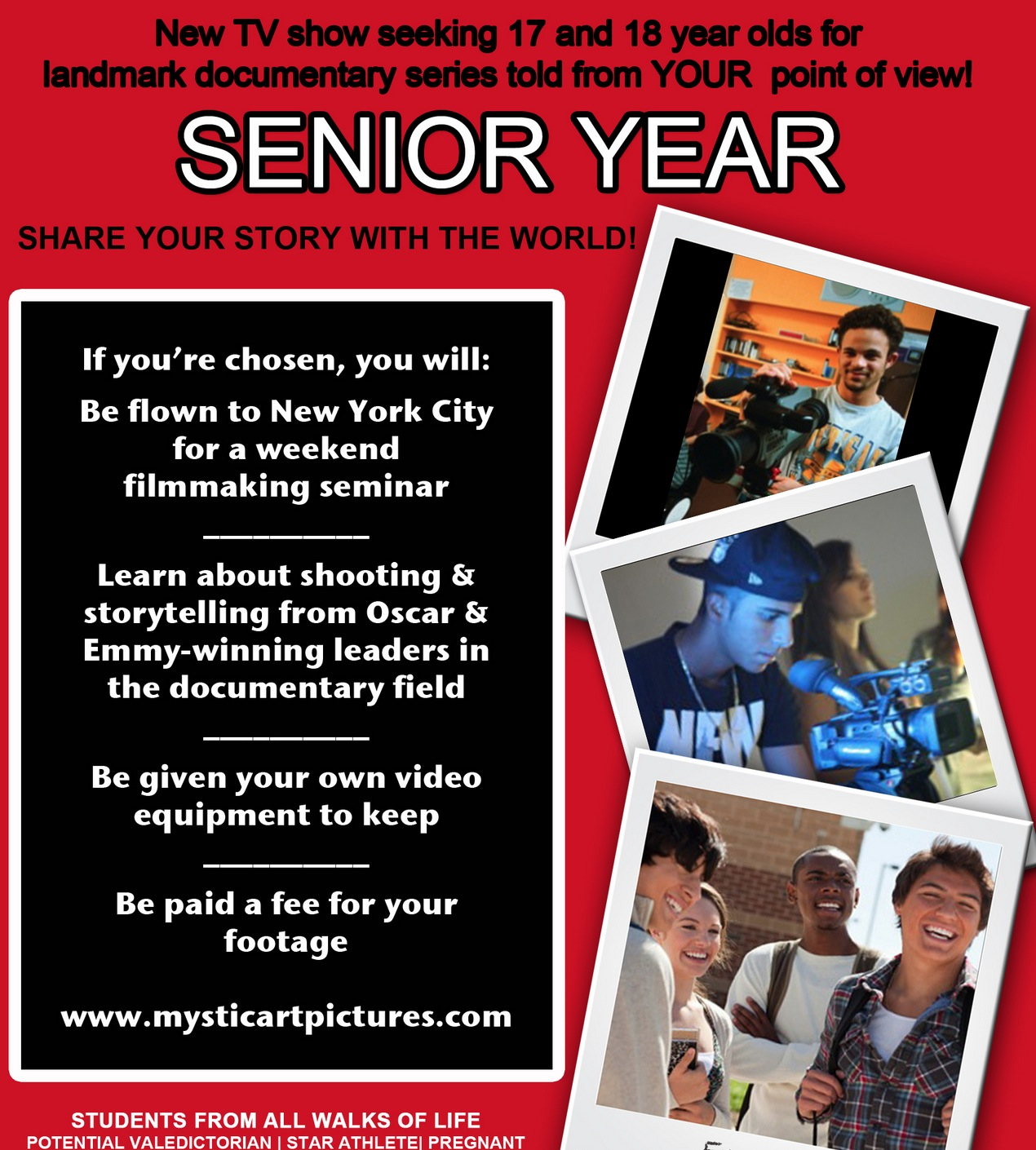 MysticArt Pictures Launches Nationwide Casting Search for a New Landmark Documentary Series About Life in America as Experienced by High School Seniors