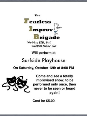 Surfside Players to Present THE FEARLESS IMPROV BRIGADE, 10/12