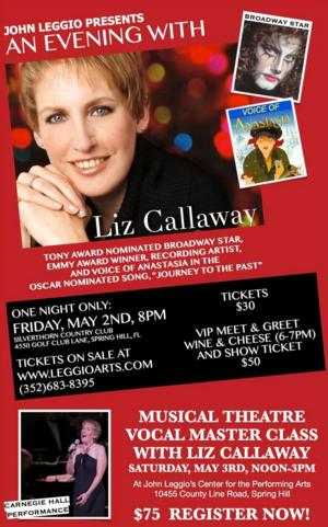 Liz Callaway to Perform at John Leggio's Center for the Performing Arts, 5/2