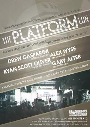 Drew Gasparini, Alex Wyse and More to Be Featured in THE PLATFORM LDN, April 27