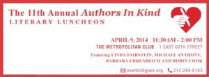 Barbara Ehrenreich and More Set for AUTHORS IN KIND Literary Luncheon Supports God's Love We Deliver Today