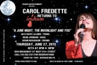 "Carol Fredette's ""A JUNE NIGHT, THE MOONLIGHT AND YOU"" at the Iridium, 6/27"