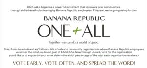 Banana Republic Launches ONE+ALL Program to Give Back