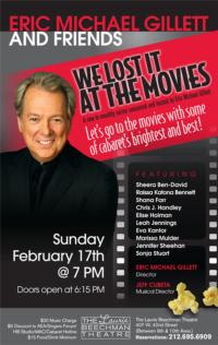 Eric Michael Gillett's WE LOST IT AT THE MOVIES Series to Kick Off at the Laurie Beechman, 2/17