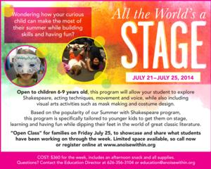 All the World's a Stage Summer Camp to Run 7/21-25 at A Noise Within
