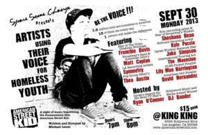 Spare Some Change Presents ARTISTS USING THEIR VOICE FOR HOMELESS YOUTH, 9/30
