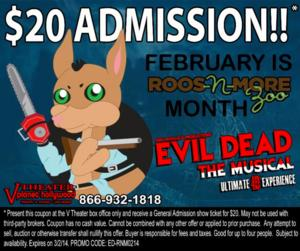 EVIL DEAD THE MUSICAL to Aid Roos-N-More Zoo