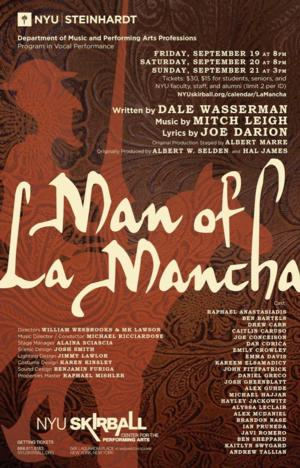 NYU Steinhardt to Perform MAN OF LA MANCHA, 9/19-21