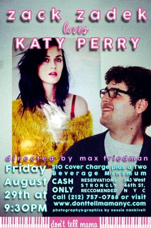 Zack Zadek to Perform the Songs of Katy Perry at Don't Tell Mama, 8/29