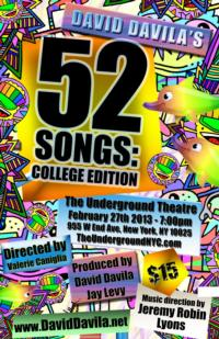 Daniel Quadrino, Ruby Rakos and More Set for David Davila's 52 SONGS: COLLEGE EDITION at Underground Theatre Tonight