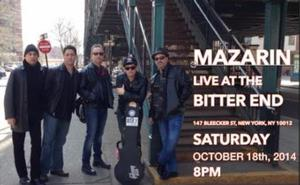 Mazarin to Make The Bitter End Debut 10/18