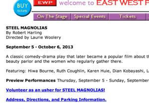 EAST WEST PLAYERS Brings STEEL MAGNOLIAS to the Stage, Opening September 11th; Previews Begin September 5th