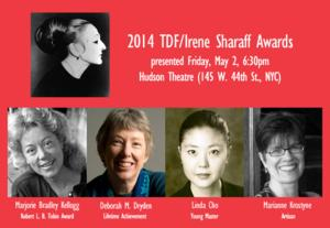 Marjorie Bradley Kellogg, Deborah M. Dryden and More Receive 2014 TDF/Irene Sharaff Awards Tonight