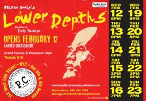 THE LOWER DEPTHS Opens This Week at The Producers' Club