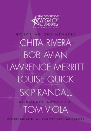 DANCERS OVER 40 Honors Chita Rivera, Bob Avian, Lawrence Merritt & More Today