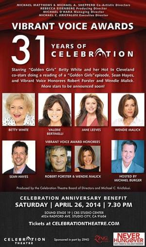 Betty White, Sean Hayes and More Set for Celebration Theatre's 2014 Vibrant Voice Awards Benefit, 4/26