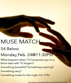 MUSE MATCH to Bring Musical Theatre Blind Date of 18 Composers and Singers to 54 Below, 2/24