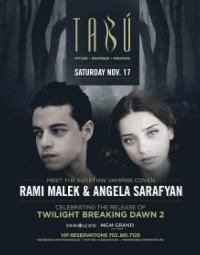 New TWILIGHT Cast Members Angela Sarafyan and Rami Malek Celebrate BREAKING DAWN PART 2 Release in Vegas Tonight