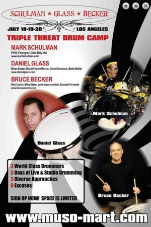 Top Drummers Mark Schulman, Daniel Glass, and Bruce Becker Announce 'Triple Threat' Drum Camp