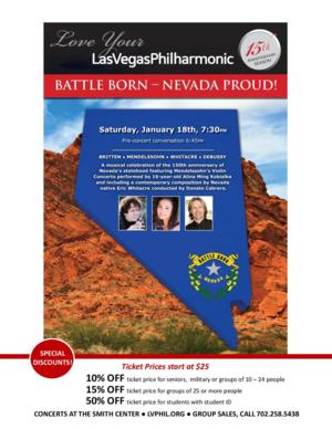 Vegas PBS Will Record  Philharmonic's 'Battle Born-Nevada Proud!' this Weekend