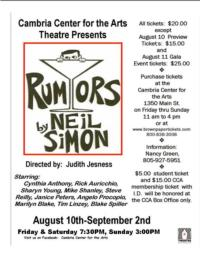 Late August Theatre Opportunities on the Central Coast of California
