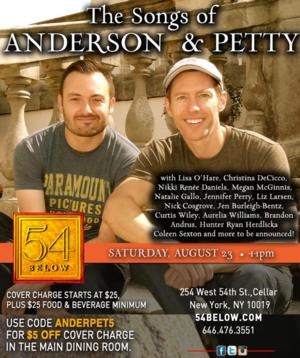 Broadway Performers Lined Up for THE SONGS OF ANDERSON & PETTY at 54 Below, 8/23