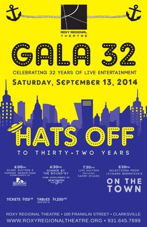 Roxy Regional Theatre's 32nd Anniversary Roxy Gala Set for 9/13