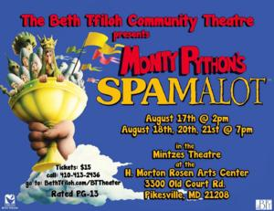 Beth Tfiloh Community Theatre to Present SPAMALOT, Begin. 8/17