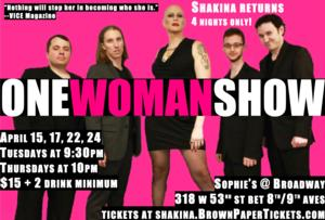 Shakina's ONE WOMAN SHOW Set for Sophie's Next Month