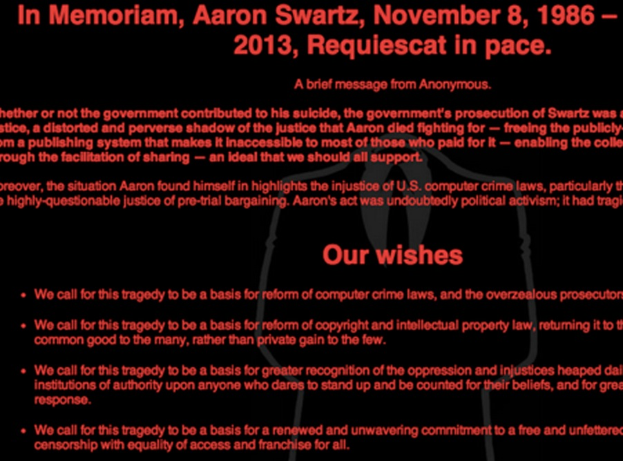 Anonymous Hacks MIT in Tribute to Aaron Swartz