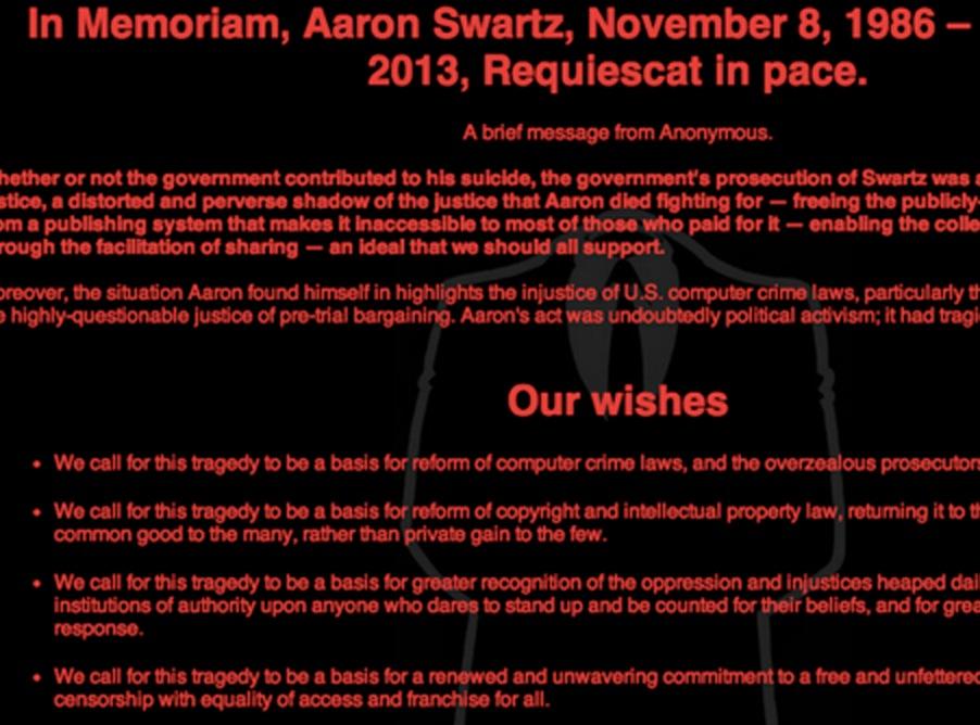 Anonymous Hacks MIT in Tribute to Aaron Swartz