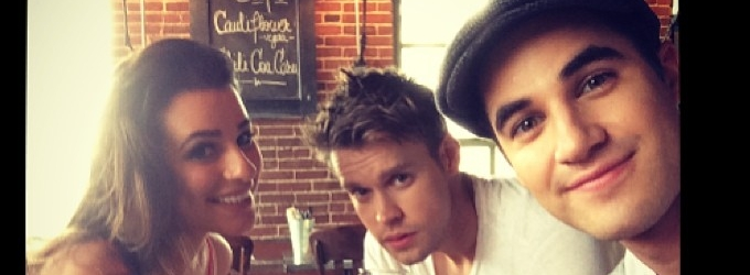 Lea Michele, Darren Criss & Chord Overstreet Spotted On GLEE NYC Set