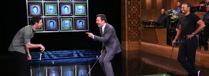 VIDEO: Jimmy Fallon Challenges Tiger Woods & Rory McIlroy to Game of 'Facebreakers'