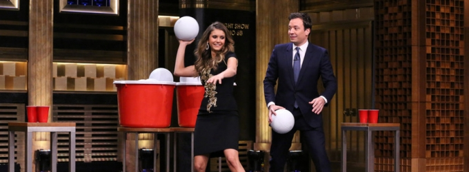 VIDEO: Jimmy Plays Giant Beer Pong with Nina Dobrev on TONIGHT SHOW