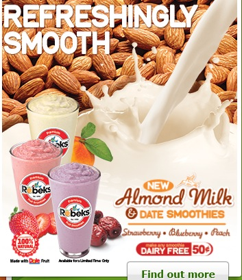 Robeks Debuts 'Almond Milk and Date' Smoothies