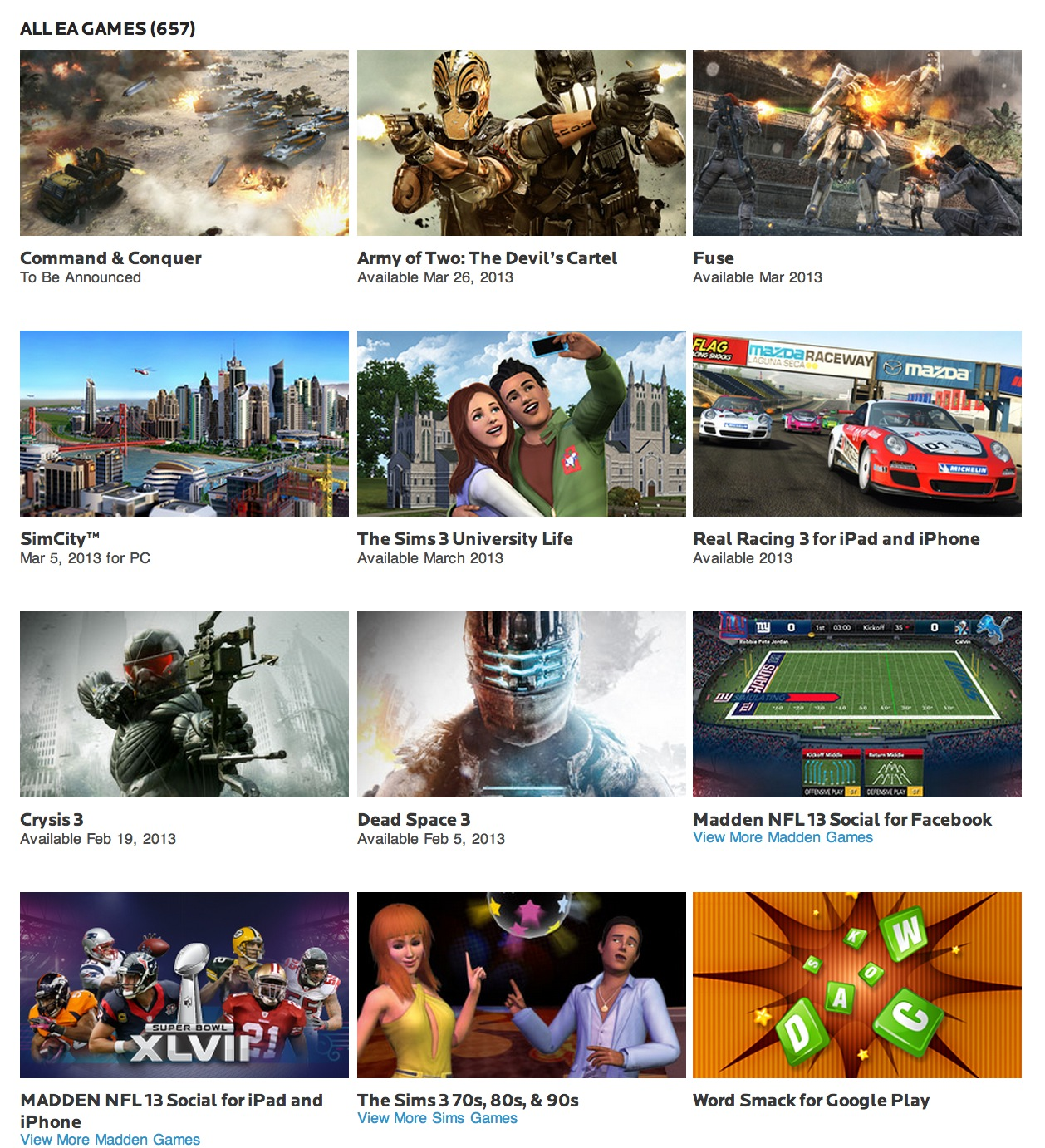 Electronic Arts Reports Q3 FY13 Financial Results; 6 of the Top 20 Titles & Number 1 for iOS Games