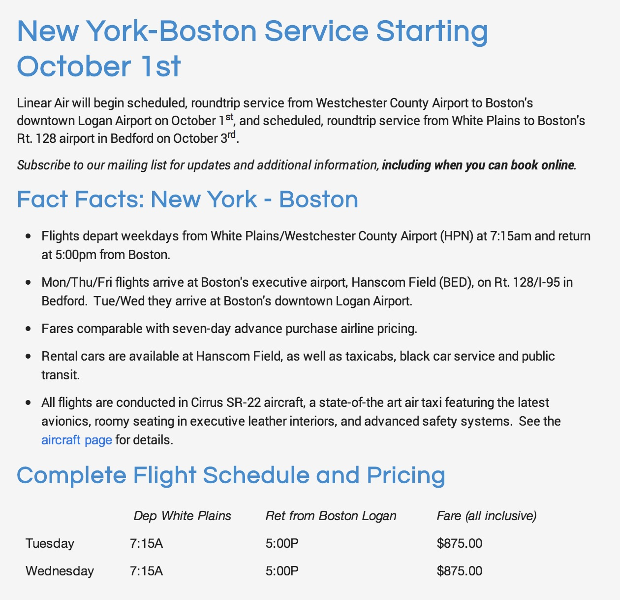 New Air Taxi Service Launches the Only Scheduled Non-Stop Flights From White Plains to Boston on October 1st