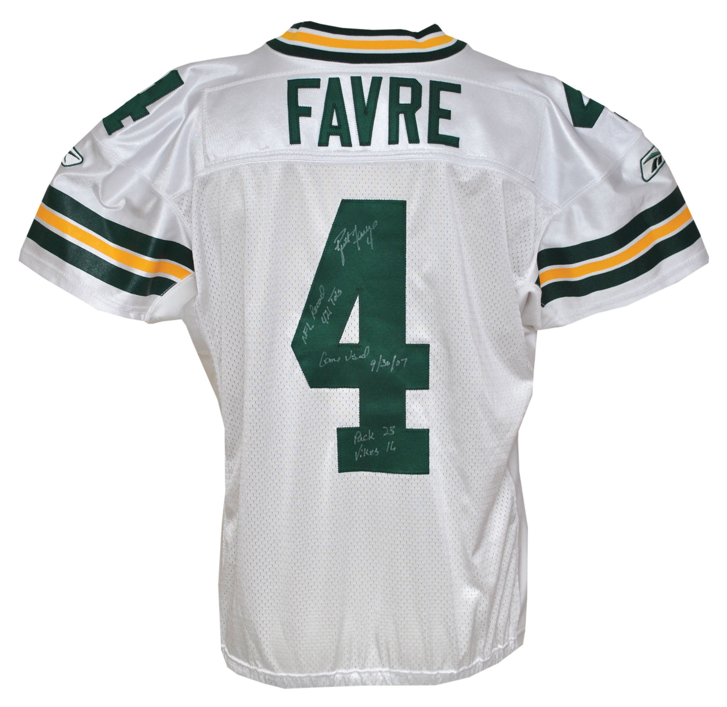 Autographed Brett Favre Uniform Worn When He Broke NFL All-Time Touchdown Record Up for Auction, 12/11