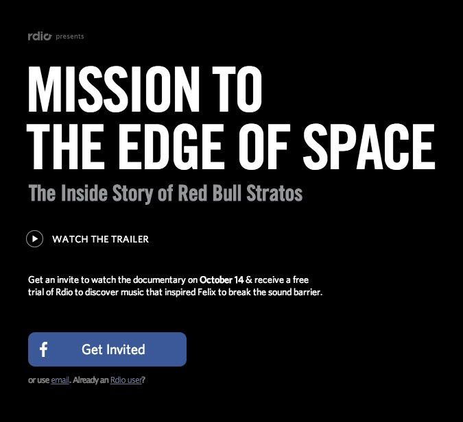 'Mission To The Edge Of Space: The Inside Story Behind Red Bull Stratos' Presented By Rdio Will Be Free To Digitally Stream In 31 Countries