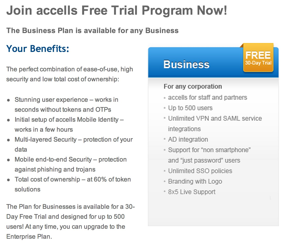 accells Offers Complimentary Trial of its Mobile Identity Service for Businesses