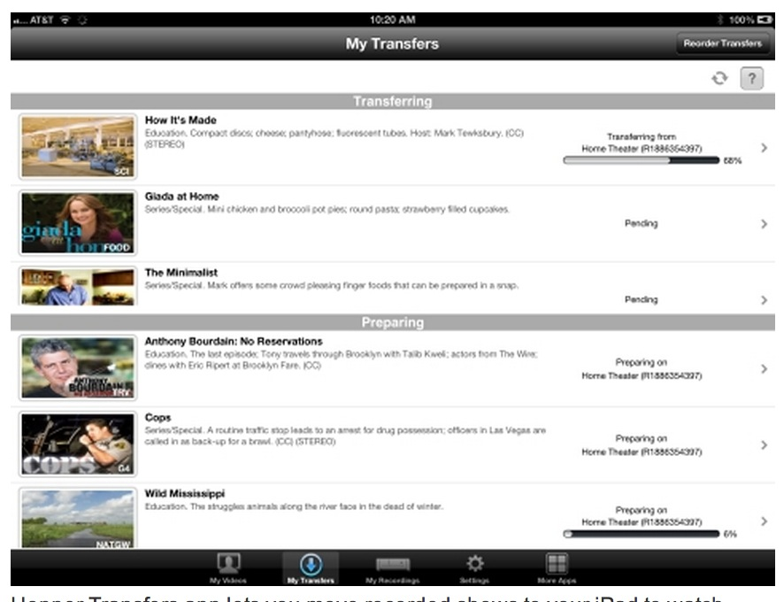 DISH's New Hopper Transfers App Delivers DVR Recordings to iPad for Offline Viewing